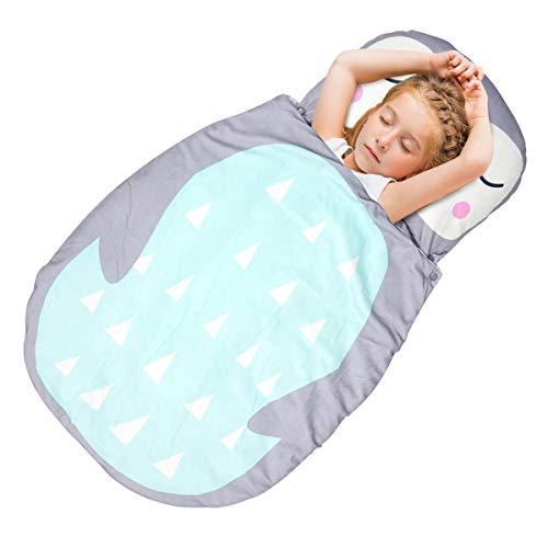 Schlafsack für Kleinkinder Kindergarten Schlafsäcke,3in1 Decke Bettdecke Kopfkissen mit Karikatur Pattern für Kindergarten Zuhause Reise (Grau Pinguin)