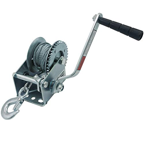 OPENROAD 600lbs Boat Trailer Winch with Wire Cable,Portable Hand Winch,Hand Crank Winch Manual Pulling Winch (8M Cable)