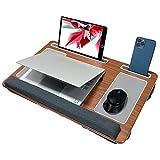 ASHINER - Bandeja para ordenador portátil con cojín suave, soporta hasta 17 pulgadas, con dos alfombrillas de ratón de piel ABS y asa portátil