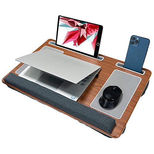 Laptop Tray for Bed with Cushion, Lap Desk Built in Mouse Pad & Wrist Pad for Notebook up to 17' with Tablet Slot & Phone Holder