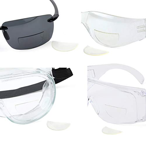 4 Pack Great View Reusable Stick-On Bifocal Lenses Reader Magnifying Adhesive Reading Lens Sticker Sport Sunglass Safety Glasses Magnifier Add On Goggles (4 Pack, 3.5)