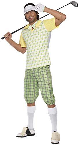 Smiffys Golfer Kostüm, Grün, Gelb und Weiß, mit Schirmmütze, Shorts, Oberteil, Fliege und Handschuhen, L