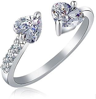 dc9ca49192 Karatcart Platinum Plated Elegant Austrian Crystal Heart Cut Adjustable Ring  for Women