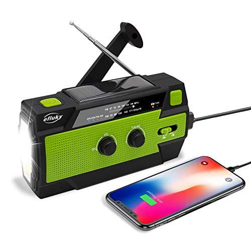 Efluky Solar Radio AM/FM/NOAA Kurbelradio Tragbar USB Wiederaufladbar Notfallradio mit 4000mAh Power Bank, Led Taschenlampe, SOS Alarm und Leselicht für Camping, Survival, Reisen, Notfall (Schwarz)
