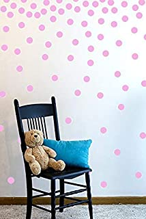 The Open Canvas Wall Decal Dots (200 Decals)   Easy to Peel Easy to Stick + Safe on Painted Walls   Removable Vinyl Polka Dot Decor   Round Sticker Large Paper Sheet Set for Nursery Room (Soft Pink)