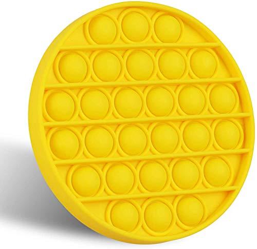 KUNSTIFY POP IT Fidget Toy Antistress Spielzeug für Erwachsene und Kinder Anti Stress Sensorik Popit Figetttoys, Simple Dimple Fidget Toy Set Figuren Ball Figet Squishy Bubble Push pop (Rund, gelb)