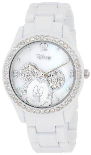 Disney Micky Maus Damen-Armbanduhr MK2106 Weiß mit Strass