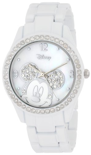 Women's MK2106 Mickey Mouse White Bracelet Watch with Rhinestones