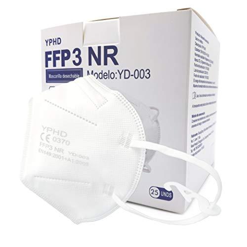 GreenBee Mascarillas FFP3 Homologadas - Mascarillas Higienicas Filtrantes de Partículas - Mascarilla Blanco de 5 Capas sin Válvula Contra el Polvo y Partículas de Calidad BFE≥98 - 25 Unidades