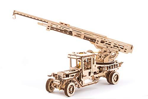 UGEARS Feuerwehrwagen mit Leiter mechanisches Holzmodell 3D-Puzzle Montagekit