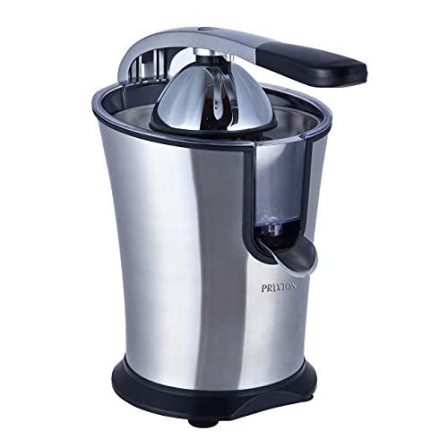PRIXTON - Exprimidor Electrico de Naranjas Automatico, Exprime Zumos Fácilmente con 160 W de Potencia y 800 ml de Capacidad, Negro/Acero Inoxidable, Medidas 31x20x32 cm | XP1 (Reacondicionado)