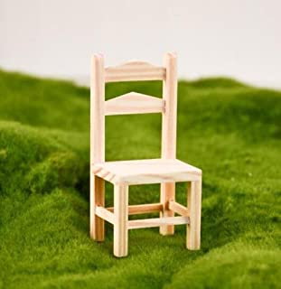 EatingBiting(R) 1/12 Dollhouse Miniature Doll Wooden Backrest Chair , 1:12 Dollhouse Miniature Furniture Garden Wooden Chair , DIY Chair Model Decoration for Your Doll House Vivid