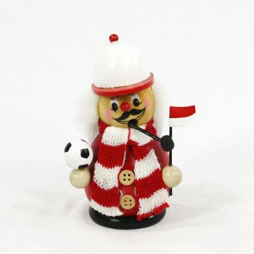 Dekohelden24 Räuchermann als Fussballer mit rot/weissem Outfit, ca. 12 cm