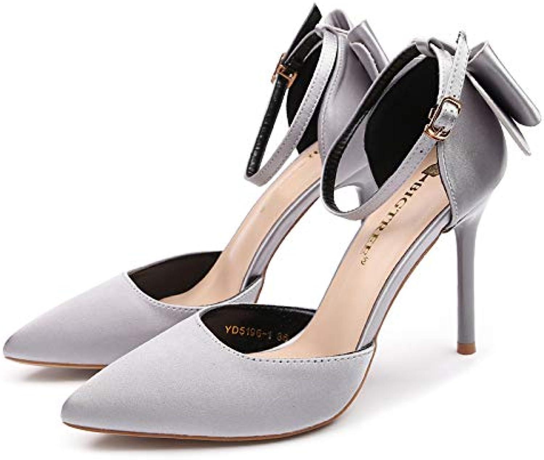 FLYRCX Schnalle mit Stilett Schuhe Mode Spitze Satinschleife High Heels Damen Party Schuhe