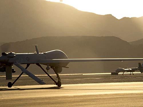 Digitales Gemälde zum Selbermachen für Erwachsene, MQ-9, Reaper, United States - Air-Force-Drohne - Sonnenuntergang - gerahmt - 40,6 x 50,8 cm