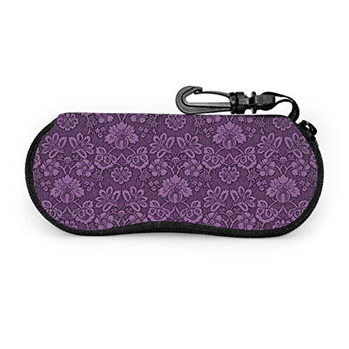 Damask Wallpaper Paper Purple Pattern Cases Sunglasses Womens Sunglass Case Light Portable Neoprene Zipper Soft Case Eyeglass Cases For Teens