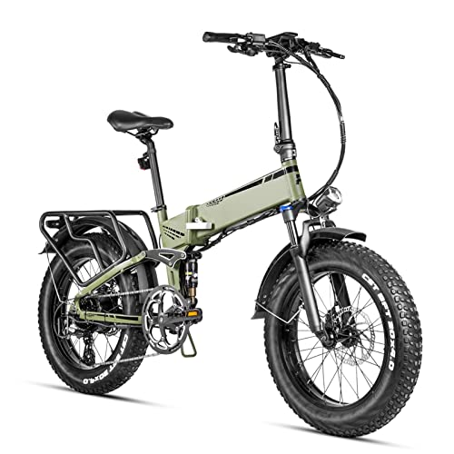 Bicicleta eléctrica for Adultos Plegable 750W 20 * 4,0 Pulgadas Neumático de Grasa Bicicletas eléctricas 48V 12Ah batería ebike (Color : Army Green)