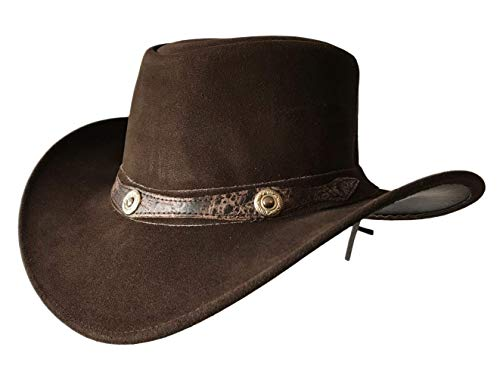 BRANDSLOCK Mens Vintage Grande Bordo del Cowboy Australiano di Stile Occidentale Bush Cappello (L, Marrone)