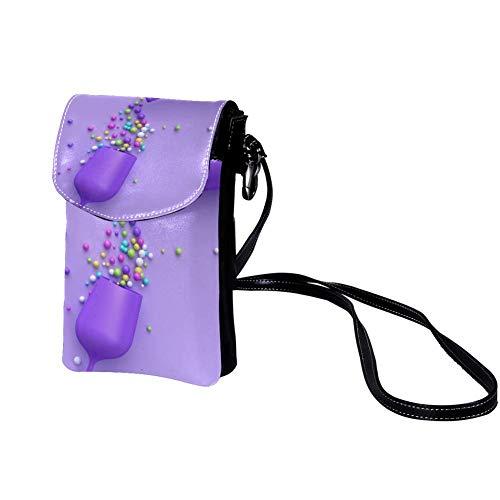 Handy Schultertasche Lila Weinglas Regenbogenzucker Mini Handytasche Geldbörse Wallet Kleine Umhängetasche für Damen Mädchen Frauen 19x12x2cm