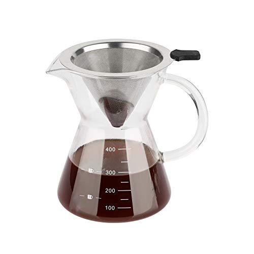 ComSaf 400ml Caffettiera pour Over, Caraffa con Filtro Permanente in Acciaio Inox in Vetro, Dripper per caffè ad Infusione
