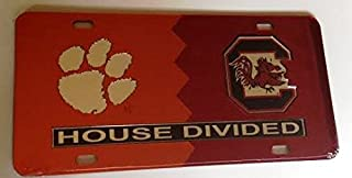 Clemson Tigers - USC Gamecocks - House Divided Mirrored Car Tag License Plate