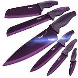 wanbasion púrpura Juego De Cuchillos De Cocina Acero Inoxidable, Set De Cuchillos De Cocina Profesional Chef, Juego De Cuchillos De Cocina Los Mejores Cocinero Carne