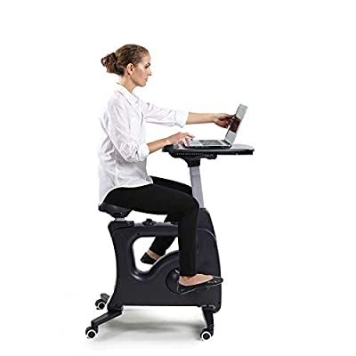 FLEXISPOT Home Office Workstation Upright Stationary Fitness Exercise Cycling Bike Height Adjustable Standing Desk - Deskcise Pro Black