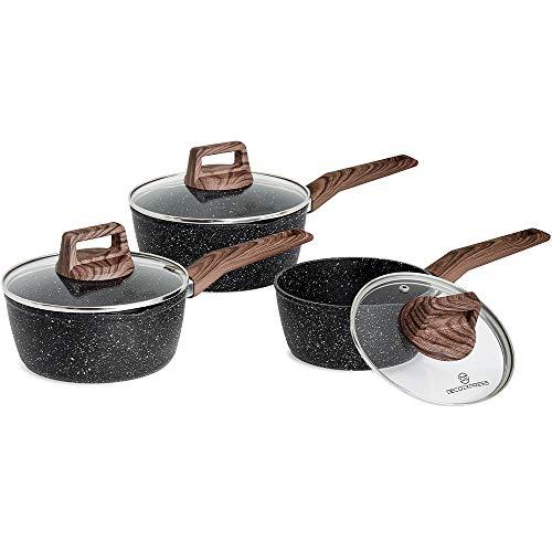 DECO EXPRESS Bateria de Cocina, Juego de Cazuelas de Cocina con Sistema Antiadherente, Incluye 3 Ollas de 16 cm, 18 cm y 20 cm, Cazo Cocina de Aluminio