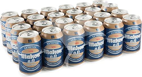 Mahou Tostada 0,0 Cerveza Tostada - Pack de 24 Latas x 33cl - Sin Alcohol