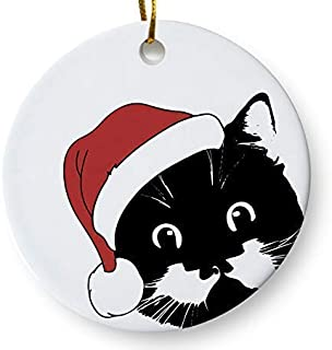 Santa Cat Holiday Ornament, Christmas Cat Ornament, Cat Lover Christmas Ornament, 3