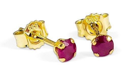 Ohrstecker mit kleinem 3mm Rubin echt 585 Gold Gelbgold 14 Karat