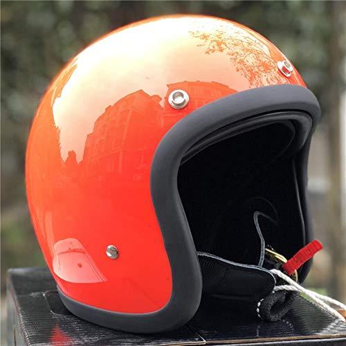 Ksde Casco de motocicleta de perfil bajo 500TX Café Racer Casco de fibra de vidrio ligero casco de motocicleta vintage, Rojo, Large