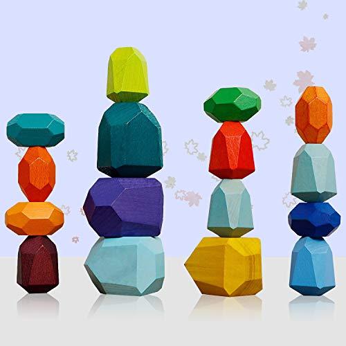 Jiahuade 16pcs Holz Stapeln Spielzeug,Puzzle Spielzeug für Kinder,farbige Holzsteine,Farbiger...