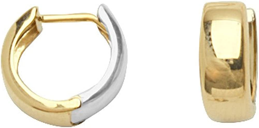 14k Yellow Our shop OFFers the best service and White Gold Polished outlet Huggie Earrings Two-tone Hoop