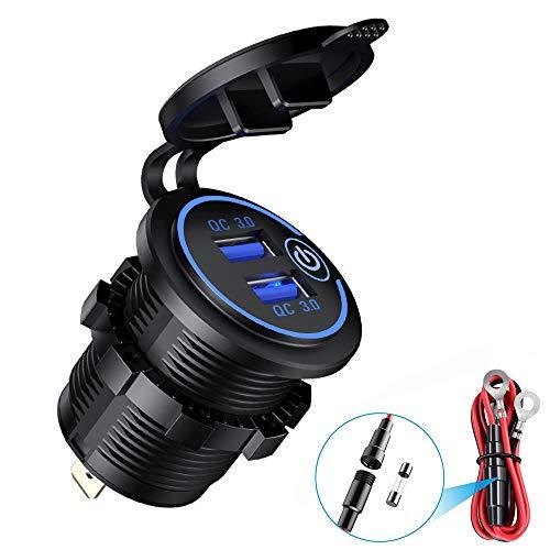 Presa accendisigari impermeabile per caricabatterie rapido QC3.0 USB per auto per camion da moto 12V/24V(Blu)