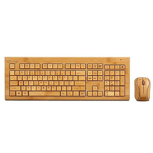 SNGU SG-KG308-N+MG93-N 2.4GHz Full Bamboo Handmade Wireless Keyboard and Mouse Combo(3 Key Pads)