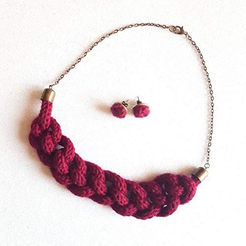Collana Collezione Filo in lana bio Colore Rosso Bordeaux