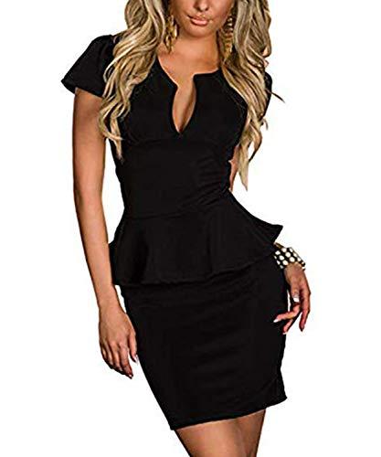 Moon Angle Minikleid Abendkleid Cocktailkleid Business Kleid Dress (M, Schwarz Two)
