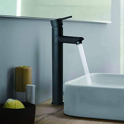 KWODE - Rubinetto miscelatore per lavabo da 3/8', rubinetto da bagno, rubinetto a ciotola miscelatore acqua fredda e calda, rubinetto miscelatore per lavabo rubinetto da bagno ad acqua, nero opaco