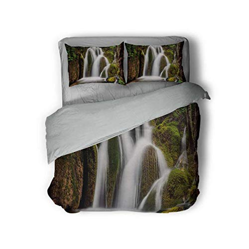 Luoiaax Waterfall 3-Pack (1 Duvet Cover and 2 Pillowcases) Epic Waterfall Down The Cliffs Deep in Forest Natural Wonders Cascade Picture Polyester (Twin) White Green