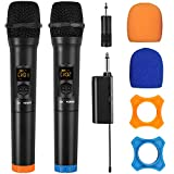 LiNKFOR Wireless Microphones UHF Dual Cordless Dynamic Mic System with Rechargeable Receiver for Karaoke Machine Singing Wedding Church DJ Party Speech