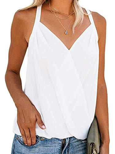 Oberteile Damen Sommer Tops Sexy Chiffon Spaghetti Tank Top Cami V-Ausschnitt Ärmellose Weste Casual T Shirt Bluse Hemdbluse Elegant Tunika für Frauen S-XXL (A-Weiß, M)