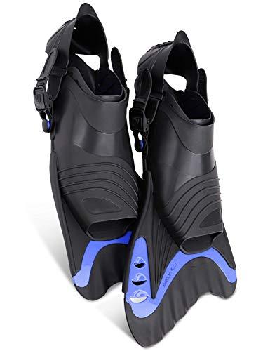 Khroom® Schwimmflossen Flossen kurz Erwachsene [NEUZUGANG] zur Verbesserung der Beintechnik | Triathlon & Wettkampf | gelenkschonend & verstellbar (Blau, 42-47)