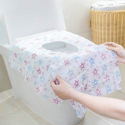 Tebery 30 Pack Extra Large Disposable Toilet Seat Covers, XL Potty Seat Covers for Toddlers, Kids, and Adults - Waterproof, Portable, Individually Wrapped