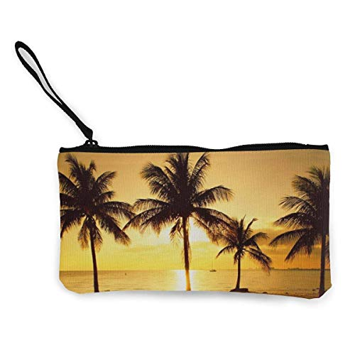 TTmom Carteras de Mujer, Monedero, Canvas Pencil Case - Coconut Tree Durable Cosmetic Makeup Bag Zipper Closure Coin Purse Wallet Phone Pouch with Handle for Kids Adults