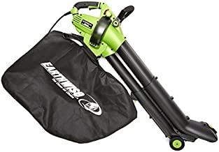 EarthWise 12-Amp Corded 3-in-1 Wheeled Blower, Vacuum and Mulcher - Green