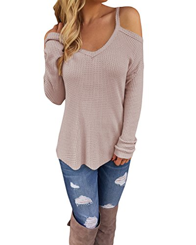 STYLEWORD Women's Off Shoulder Loose Casual Knitted Pullover Sweater Shirts Tunic Top Blouse(Khaki,XL)