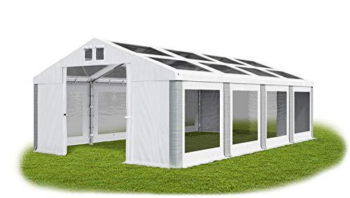 Das Company Transparentes Partyzelt 4x8 m wasserdicht weiß-grau Zelt Dachplane modular 580g/m² PVC hochwertig Gartenzelt Summer MST