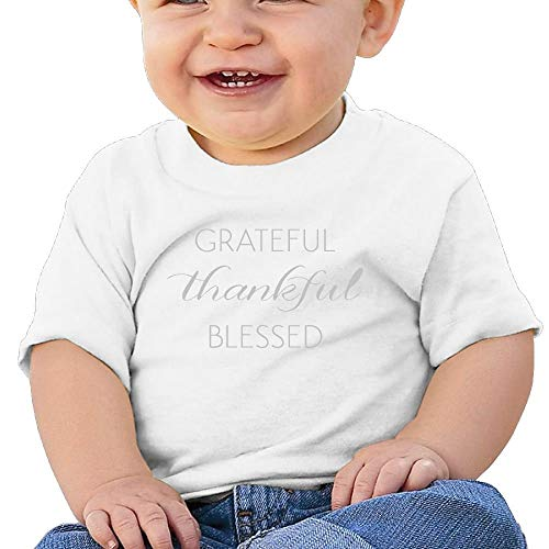 Pmguerxbfhyd Baby Girls Toddler Thankful Grateful Blessed Short Sleeve T Shirt
