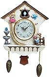 BENREN Horloge à Coucou à Quartz, Horloge Murale Nichoir, Horloge de la Forêt-Noire avec Pendule, Carillon de Coucou à Mouvement à Quartz à Piles, Décor à la Maison